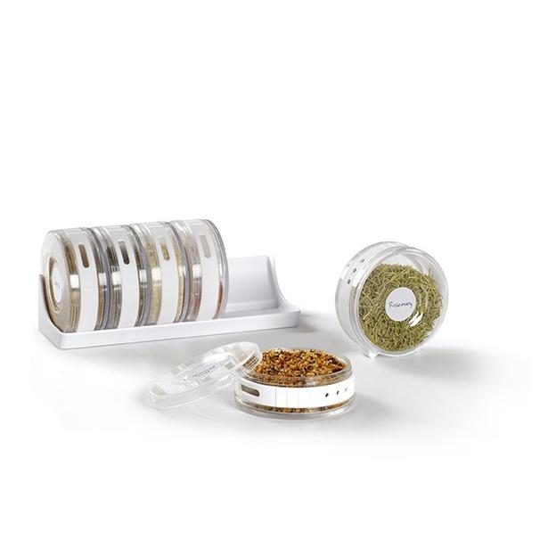 фото Ёмкости для специй в подставке Umbra Cylindra. Цвет: белый, прозрачный