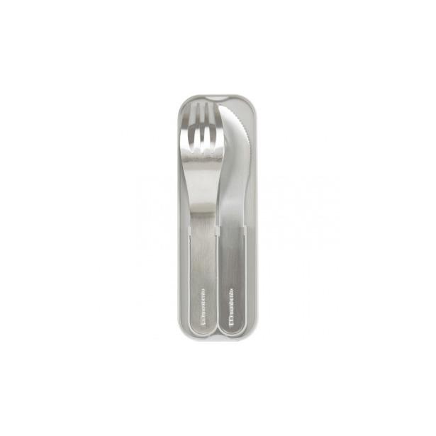фото Набор из 3-х столовых приборов в футляре Monbento MB Pocket. Цвет: серый, стальной
