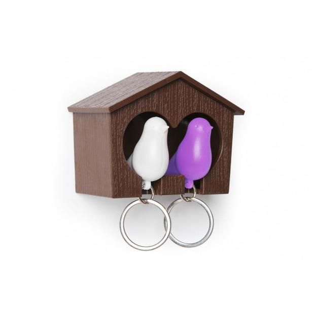 фото Держатель и брелок для ключей двойной Qualy Sparrow. Цвет: белый, коричневый, фиолетовый