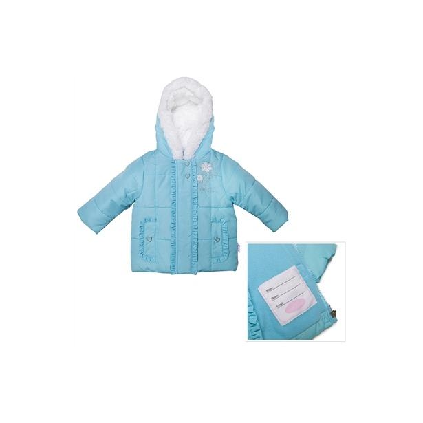 фото Куртка утепленная с меховым капюшоном и вышивкой Bon Bebe Aqua