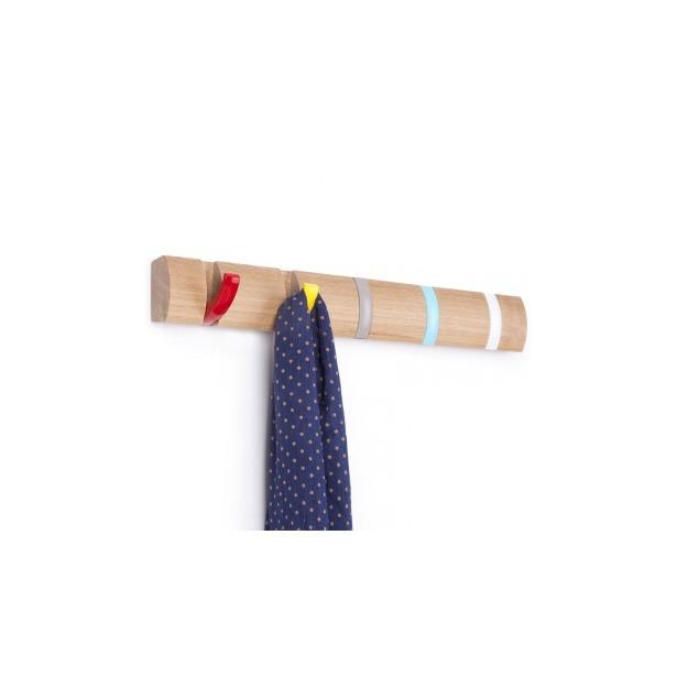 фото Вешалка настенная горизонтальная с 5-ю крючками Umbra Flip. Цвет: бежевый
