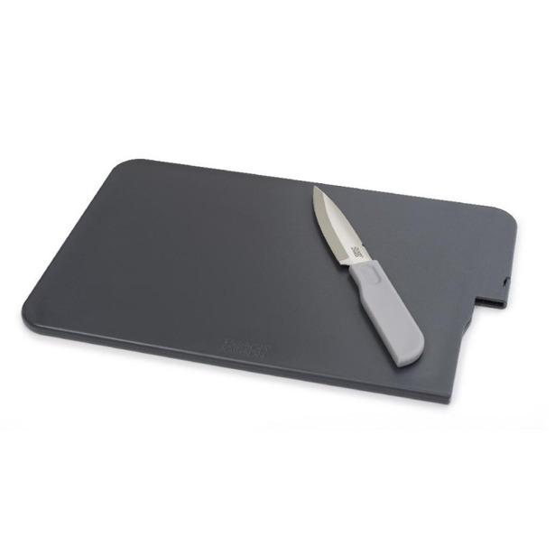 фото Доска разделочная с ножом Joseph Joseph Slice&Store. Цвет: черный, графит