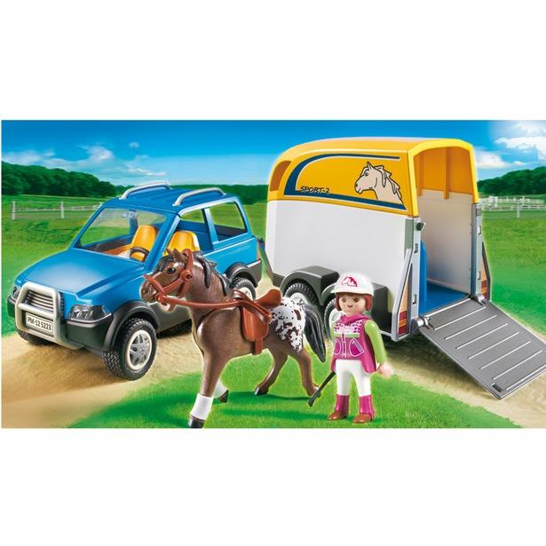фото  Джип с трейлером для перевозки лошадей Playmobil 5223pm