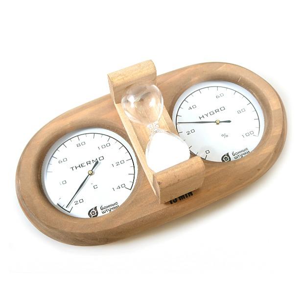фото Термометр для бани и сауны Банные штучки с гигрометром и песочными часами