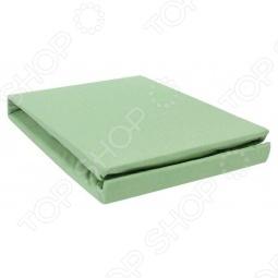 фото Простыня на резинке трикотажная ЭГО. Цвет: зеленый. Размер простыни: 90х200 см, Простыни