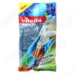 фото Перчатки с кремом для чувствительной кожи рук Vileda «Комфорт». Размер: L, Перчатки хозяйственные