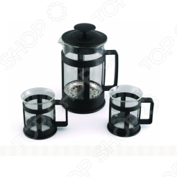 фото Набор: чайник заварочный с поршнем и 2 кружки для кофе Gipfel Glacier-Sevilla 7440, Чайные сервизы