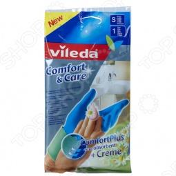 фото Перчатки с кремом для чувствительной кожи рук Vileda «Комфорт». Размер: S, Перчатки хозяйственные