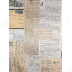 фото Ткань декоративная Scrapberrys Сатин Клеевой «Вырезки Газет», купить, цена
