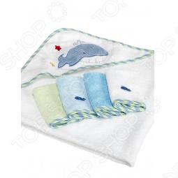 фото Полотенце с капюшоном и 4 салфетки Spasilk Для Мальчика, Полотенца. Салфетки для купания