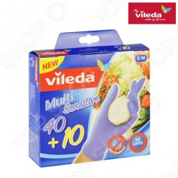 фото Перчатки хозяйственные одноразовые Vileda. Размер: S/M, Перчатки хозяйственные