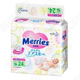 фото Подгузники на липучках Merries размер S 4-8 кг. Количество штук в упаковке: 24, Подгузники