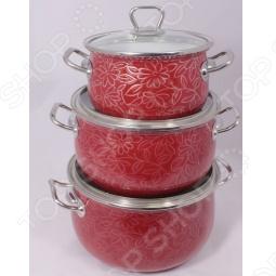 фото Набор кастрюль 3D. Цвет: красный. Модель: красный коралл, Наборы посуды для готовки