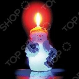 фото Свеча новогодняя с led Снегурочка «Снеговик», Свечи. Подсвечники