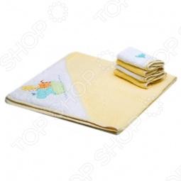 фото Полотенце с капюшоном и 4 салфетки Spasilk «Зверята», Полотенца. Салфетки для купания
