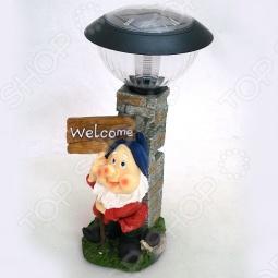 фото Фонарь декоративный Valencia Гном Welcome, Уличное освещение для дачного участка