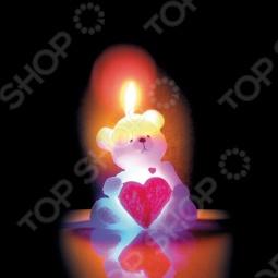 фото Свеча новогодняя с led Снегурочка «Мишка С Сердцем», Свечи. Подсвечники