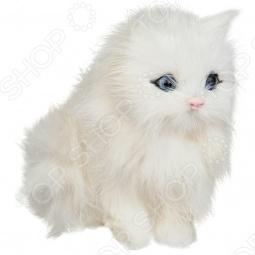 фото Сувенир из меха интерактивный «Кошка сидящая с голосом». Цвет: белый, купить, цена