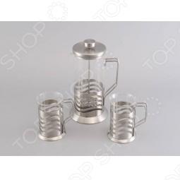 фото Набор: чайник заварочный с поршнем и 2 кружки для кофе Gipfel Glacier-Toulouse 7180, Чайные сервизы