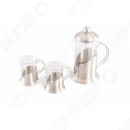 фото Чайник заварочный с поршнем и две кружки Gipfel Aroma 8538, Чайные сервизы