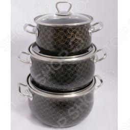 фото Набор кастрюль 3D. Цвет: черный. Модель: черный жемчуг, Наборы посуды для готовки