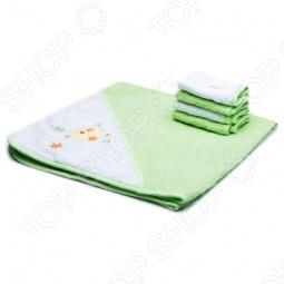 фото Полотенце с капюшоном и 4 салфетки Spasilk «Утёнок», Полотенца. Салфетки для купания