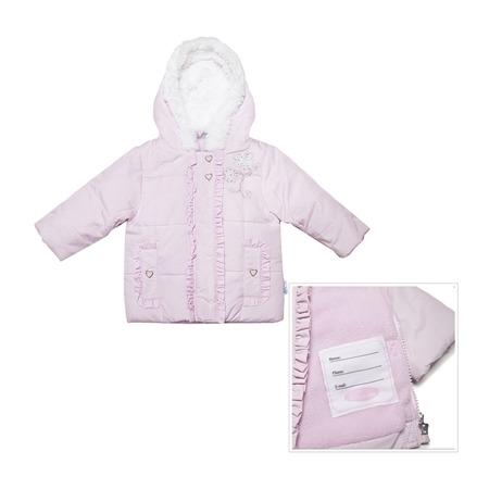 Купить Куртка утепленная с меховым капюшоном и вышивкой Bon Bebe Pink