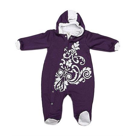 Купить Комбинезон для новорожденных с капюшоном на подкладке Ёмаё. Цвет: лиловый