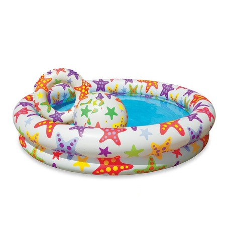 Купить Бассейн надувной с надувным кругом и мячом Intex 59460. В ассортименте