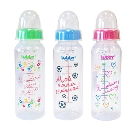Купить Бутылочка для кормления LUBBY «Я люблю». В ассортименте