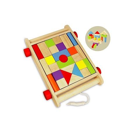 Купить Конструктор деревянный I'm toy «Кубики в тележке»