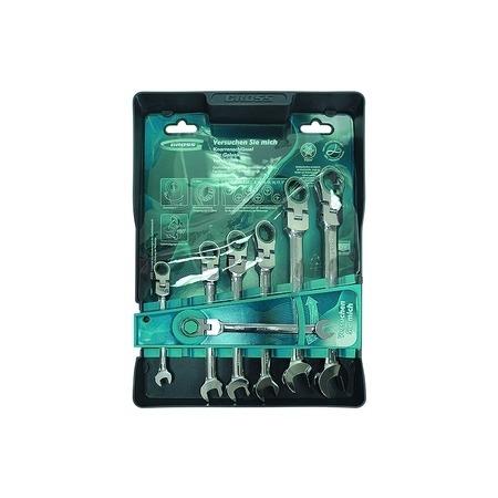 Купить Набор ключей комбинированных шарнирных с трещоткой GROSS