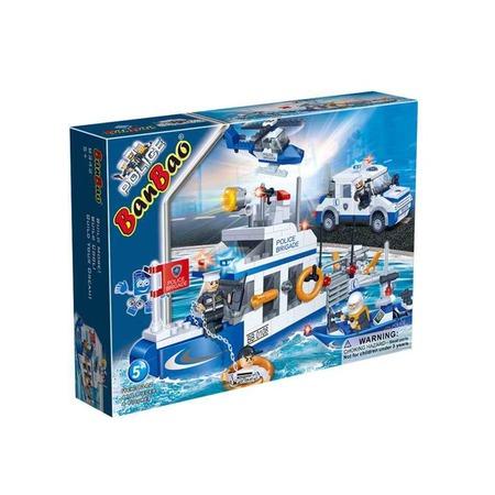 Купить Конструктор Banbao Полицейская команда (катер, джип, лодка, вертолет), 418 деталей