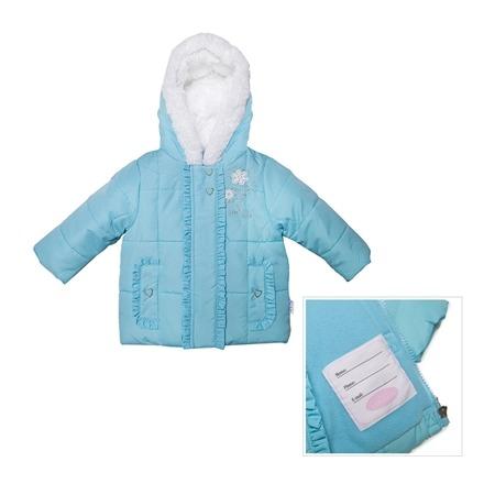 Купить Куртка утепленная с меховым капюшоном и вышивкой Bon Bebe Aqua