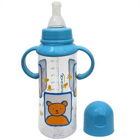 Купить Бутылочка для кормления КУРНОСИКИ с ручками, крышкой и соской, 250 мл. В ассортименте