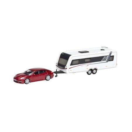 Купить Модель автомобиля 1:87 Schuco Porsche Panamera с прицепом