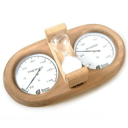 Купить Термометр для бани и сауны Банные штучки с гигрометром и песочными часами