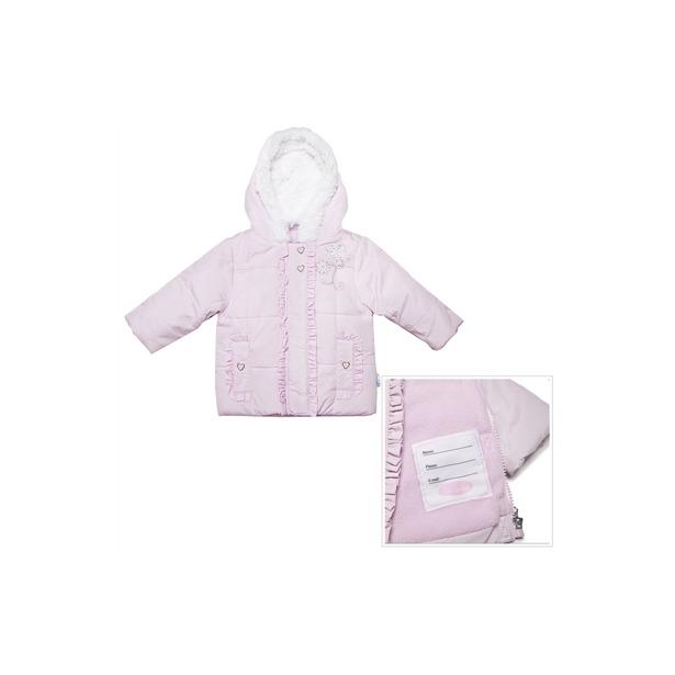 фото Куртка утепленная с меховым капюшоном и вышивкой Bon Bebe Pink