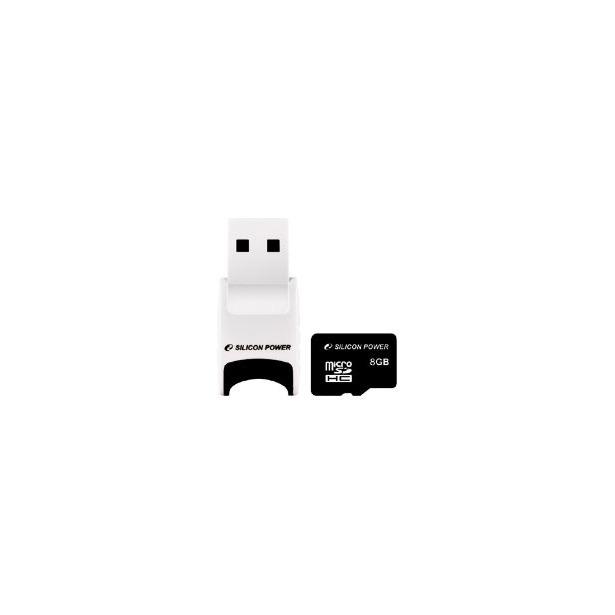фото Карта памяти Silicon Power micro SDHC Card 8GB Class 4 и Stylish USB Reader