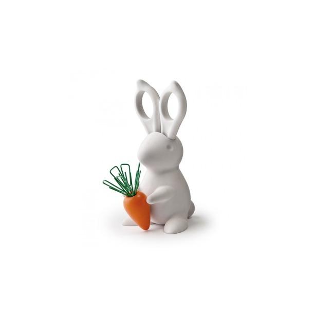 фото Ножницы и магнит со скрепками Qualy Bunny. Цвет: белый