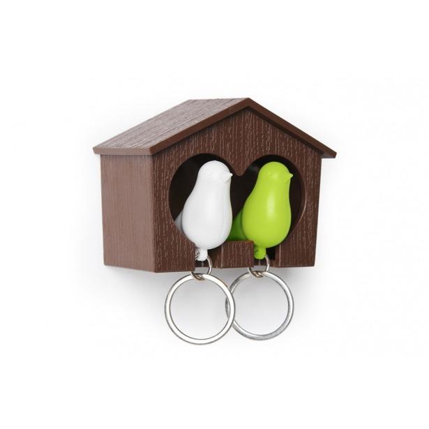 фото Держатель и брелок для ключей двойной Qualy Sparrow. Цвет: белый, коричневый, зеленый