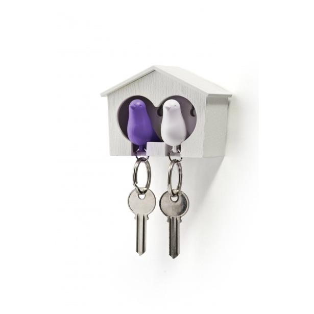 фото Держатель и брелок для ключей двойной Qualy Sparrow. Цвет: белый, фиолетовый