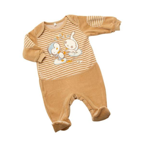 фото Комбинезон IDEA KIDS «Весёлые полосатики» с вышивкой. Цвет: бежевый