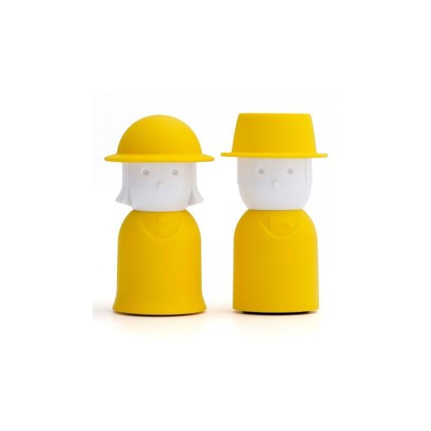 фото Солонка и перечница Qualy Mr. Pepper & Mrs. Salt. Цвет: белый, желтый