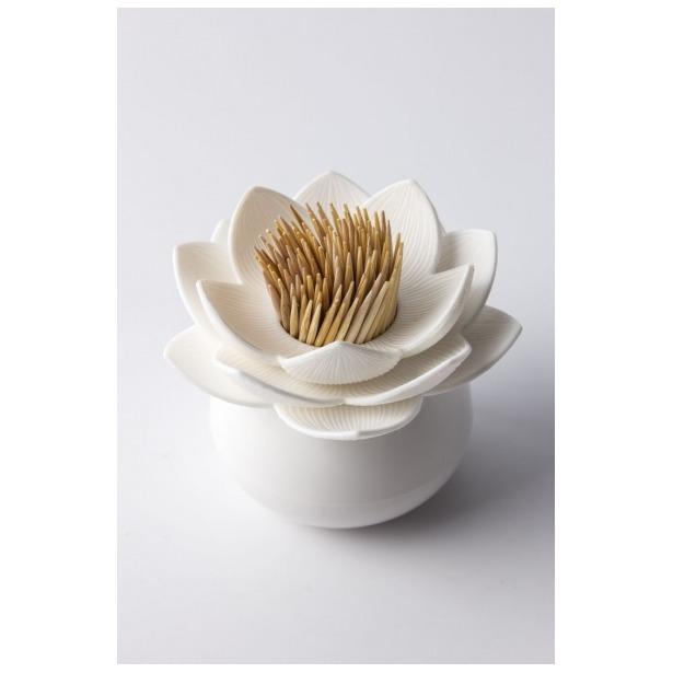 фото Держатель для зубочисток Qualy Lotus. Цвет: белый